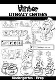Winter Literacy Centers for Kindergarten B&W