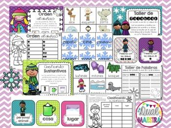 Winter Literacy Centers in Spanish