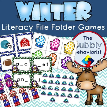 Winter Literacy File Folder Games