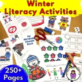 Editable Winter ELA Kindergarten Literacy Center Activities and Worksheets