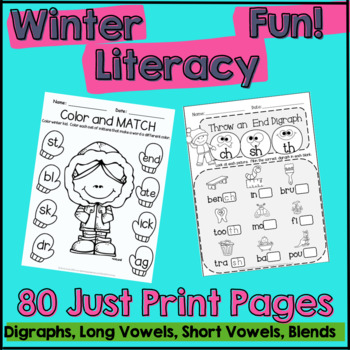 Winter Literacy Fun: Short & Long Vowels, Digraphs and Blends Differentiated