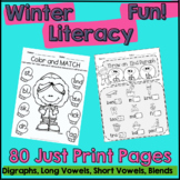 Winter Literacy Fun: Short & Long Vowels, Digraphs and Ble