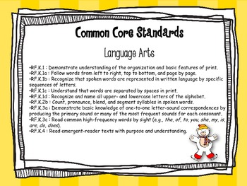 Winter Literacy Kindergarten Centers Common Core Aligned