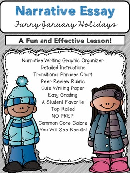 Winter Literacy NO PREP Narrative Essay Pack (CCSS Aligned 3-6)