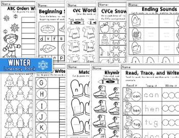 Winter Literacy Pack for Kindergarten: Worksheets and Activities