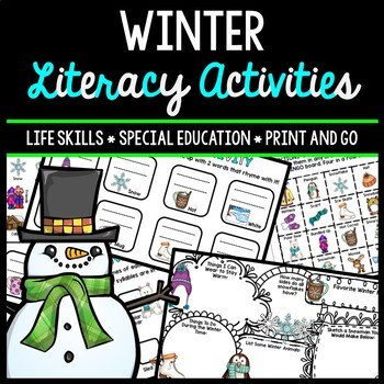 Winter Literacy - Special Education - Life Skills - Print & Go - Reading