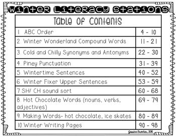 Winter Literacy Stations {10 Stations in Color and Black & White}