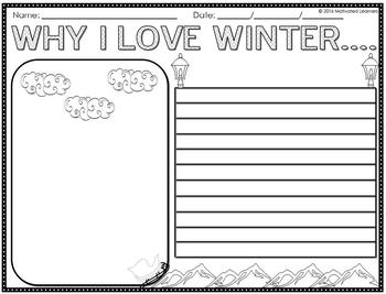 Winter Math and Literacy, Grammar, Worksheets and Activities No Prep