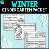 Winter Kindergarten Literacy, Writing and Math Worksheet Packet