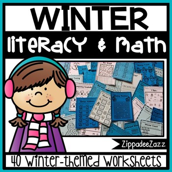 Winter Literacy and Math Activity Bundle - NO PREP - PRINT