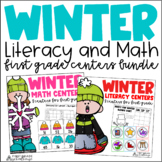 Winter Literacy and Math Centers First Grade Bundle