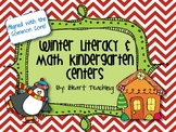 Winter Literacy and Math Kindergarten Centers Common Core Aligned