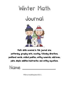 Winter Literacy-based Math Journal Add, Subtract, Patterni