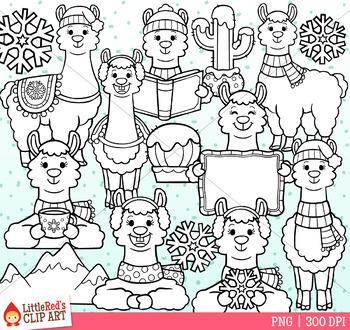 Winter Llamas Clip Art