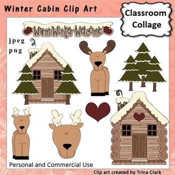 Winter Log Cabin and Moose Clip Art - color - personal & c