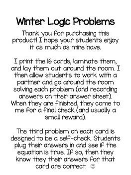 Winter Logic Problems