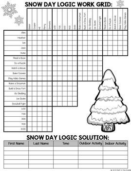 Winter Logic Puzzle for Middle School - Winter Math Activity