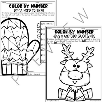 Winter Long Division Color by Number [with/without remainders]