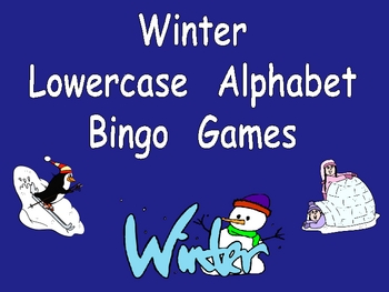 Winter Lowercase Alphabet Bingo Games- Set of 3 Preschool