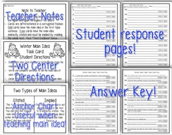 Winter Main Idea Task Cards {Stated & Implied} 100% Common Core Aligned