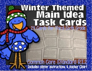 Winter Main Idea Task Cards {Stated & Implied} 100% Common