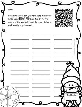 Winter Making Words iPad Activity for Wordstudy