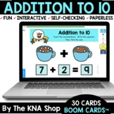 Winter Marshmallows Addition to 10 Boom Cards Distance Learning