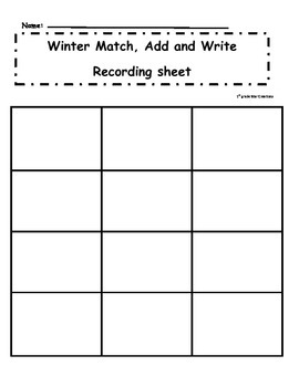Winter Match Add and Write Memory Game