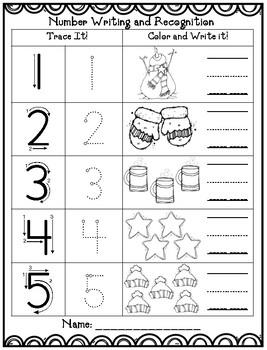 Winter Math (1-10) Writing Worksheet