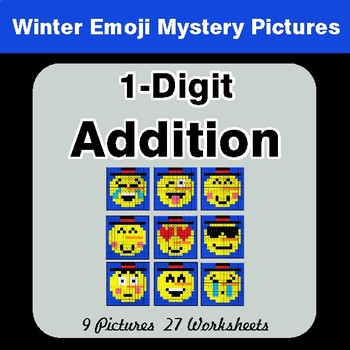 Winter Math: 1-Digit Addition - Color-By-Number Mystery Pictures