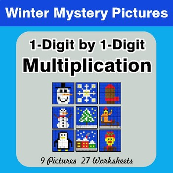 Winter Math: 1-Digit Multiplication - Color-By-Number Mystery Pictures