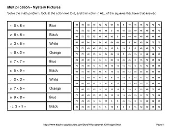Winter Math: 1-Digit Multiplication - Color-By-Number Math Mystery Pictures