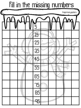Winter Math 100 chart