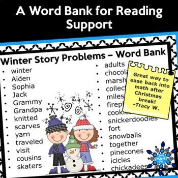 Winter Math Second Grade Word Problems
