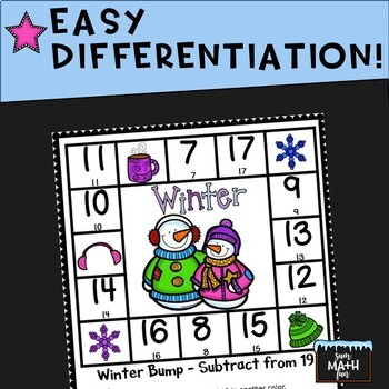 Winter Math: Subtraction Bump Games and Printables