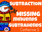 Missing Subtrahends, Missing Minuends Worksheets