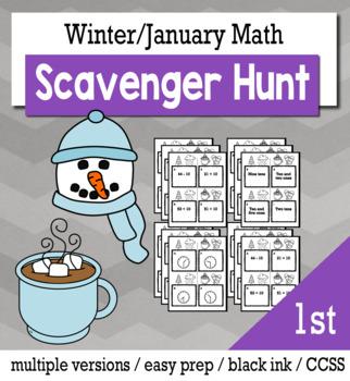 Winter Math 1st Grade Scavenger Hunt Game Bundle