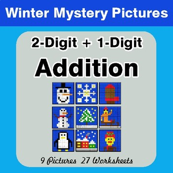 Winter Math: 2-Digit + 1-Digit Addition - Color-By-Number Mystery Pictures