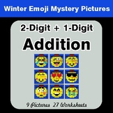 Winter Math: 2-Digit + 1-Digit Addition - Color-By-Number