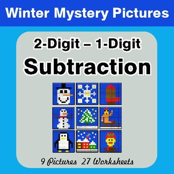 Winter Math: 2-Digit - 1-Digit Subtraction - Color-By-Number Mystery Pictures