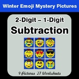Winter Math: 2-Digit - 1-Digit Subtraction - Color-By-Numb