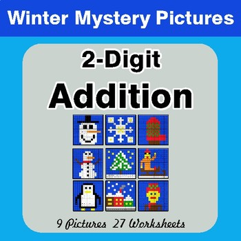 Winter Math: 2-Digit Addition - Color-By-Number Mystery Pictures