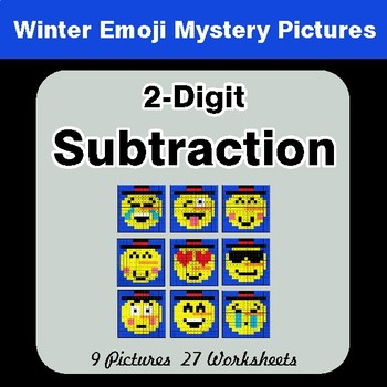 Winter Math: 2-Digit Subtraction - Color-By-Number Mystery Pictures