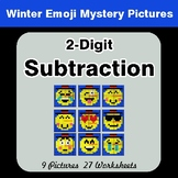 Winter Math: 2-Digit Subtraction - Color-By-Number Mystery