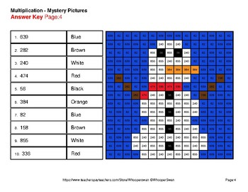 Winter Math: 2-Digit by 1-Digit Multiplication Color-By-Number Mystery Pictures