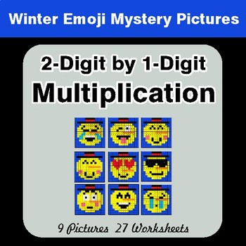 2-Digit by 1-Digit Multiplication Color-By-Number Winter Math Mystery Pictures