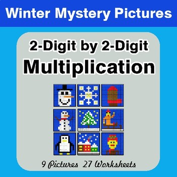 Winter: 2-Digit by 2-Digit Multiplication Color-By-Number Math Mystery Pictures