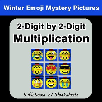 Winter Math: 2-Digit by 2-Digit Multiplication Color-By-Number Mystery Pictures