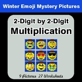 2-Digit by 2-Digit Multiplication Color-By-Number Winter Math Mystery Pictures