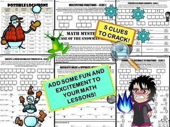 Winter Math Mystery Activity {Fractions, Percents, Integers, Decimals}
